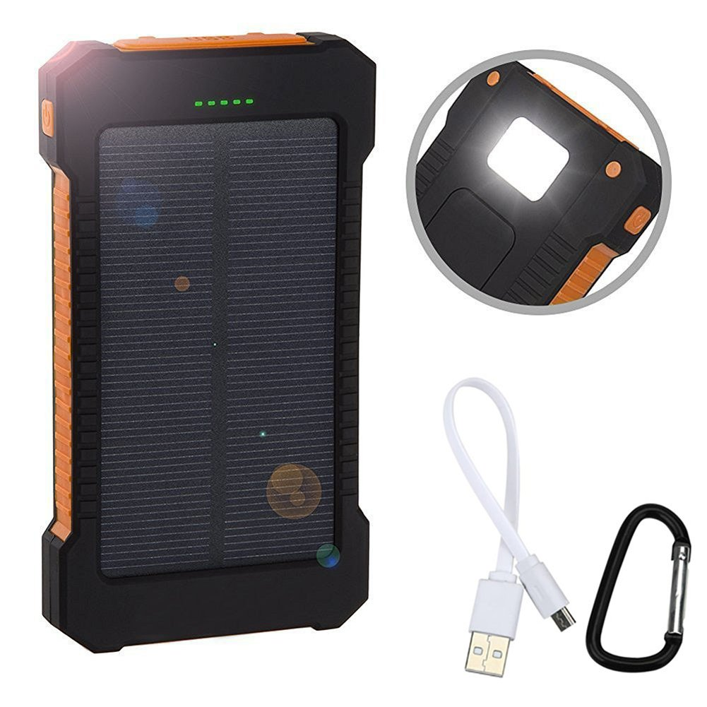 Zehui Solar Power Bank Solar Charger Dual USB Power Bank with LED Light for Waterproof 8000 Mah