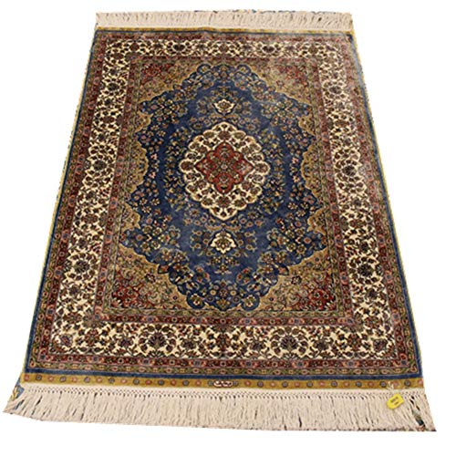 (YILONG CARPET 2.7x4ft Persian Rug Hand Knotted Oriental Area Rugs Silk Persian Carpet Oriental Rug Qum Rug Area Rugs Turkish Handmade Rugs for Bedroom Living Room Kids Room House Villa (Blue))