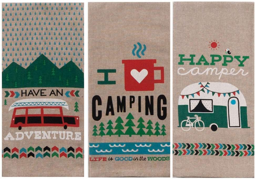 Kay Dee Designs Camping Adventures Chambray Tea Towel Set of 3: Bundle Designs Include: Have an Adventure - I Heart Camping - Happy Camper