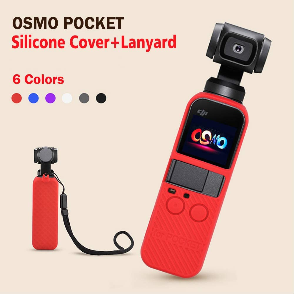 Silicone Case with Lanyard Neck Strap Compatible with DJI Osmo Pocket Accessories Protector Case Shock Proof Silicone Cover with Wrist Rope Red Silicone Case
