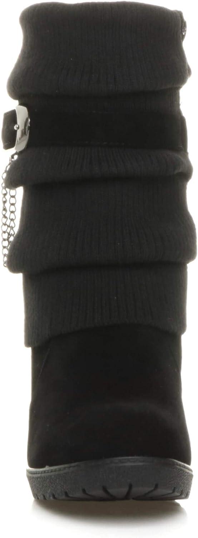 Ajvani Femmes Talon Haut compens/é tricot/é Hiver Hauteur du Mollet Bottines Pointure