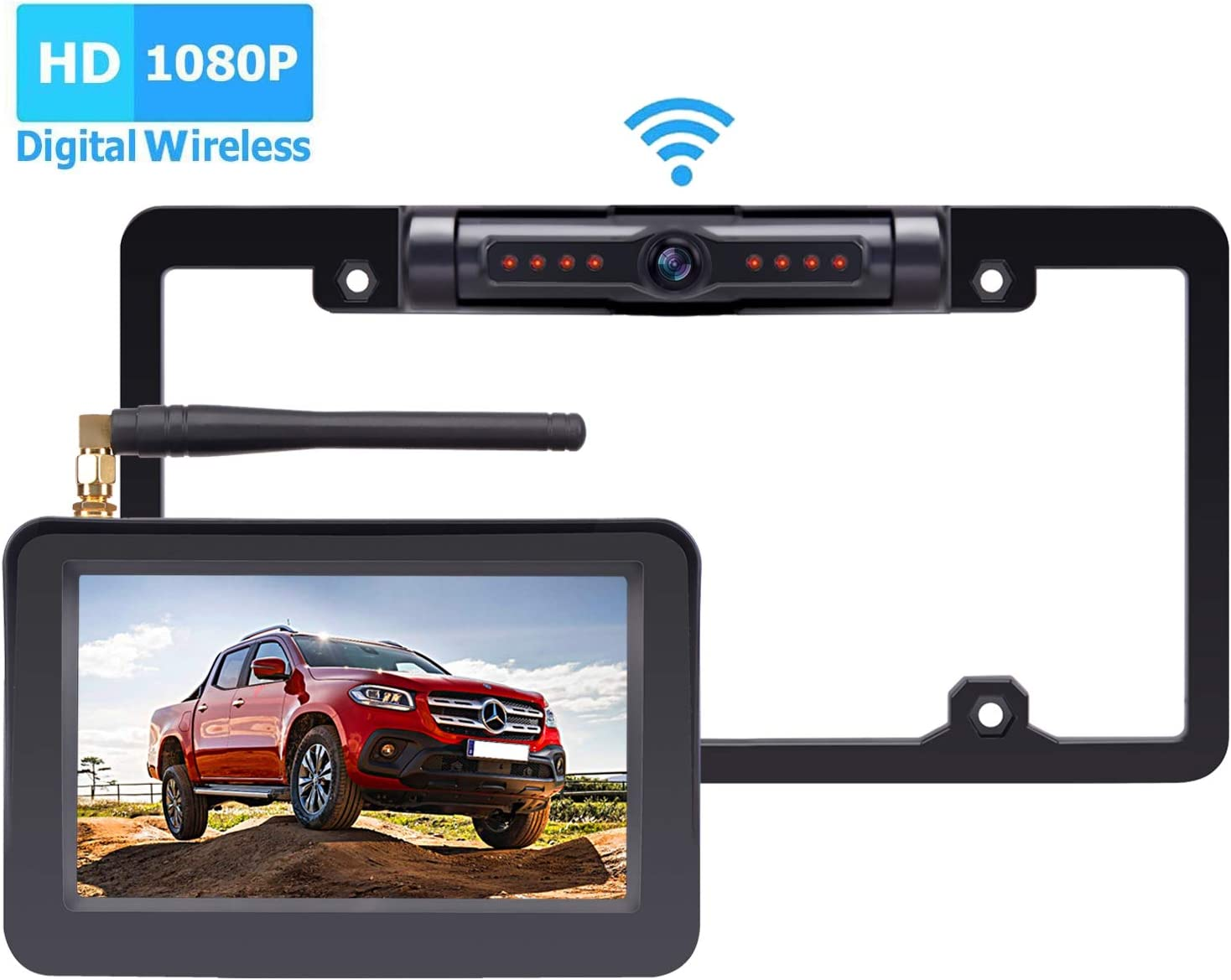 Yakry Y26 HD 1080P Digital Wireless Backup Camera System Kit 5'' Monitor Hitch Rear View License Plate Camera for Trucks,Campers,Vans,Cars High-Speed Observation System