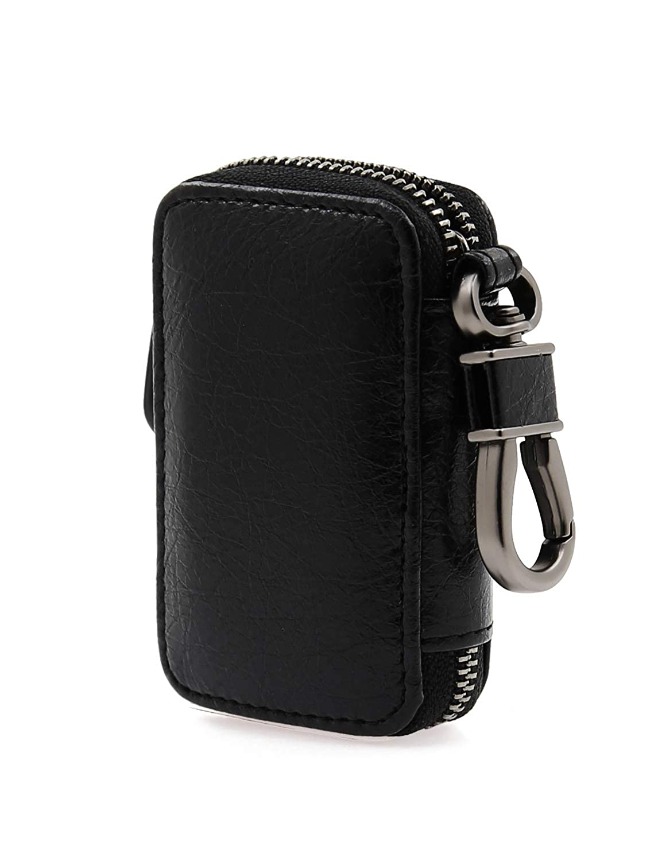 AslabCrew Car Key case Genuine Leather Car Smart Key Chain Keychain Holder Metal Hook and Keyring Zipper Bag for Remote Key