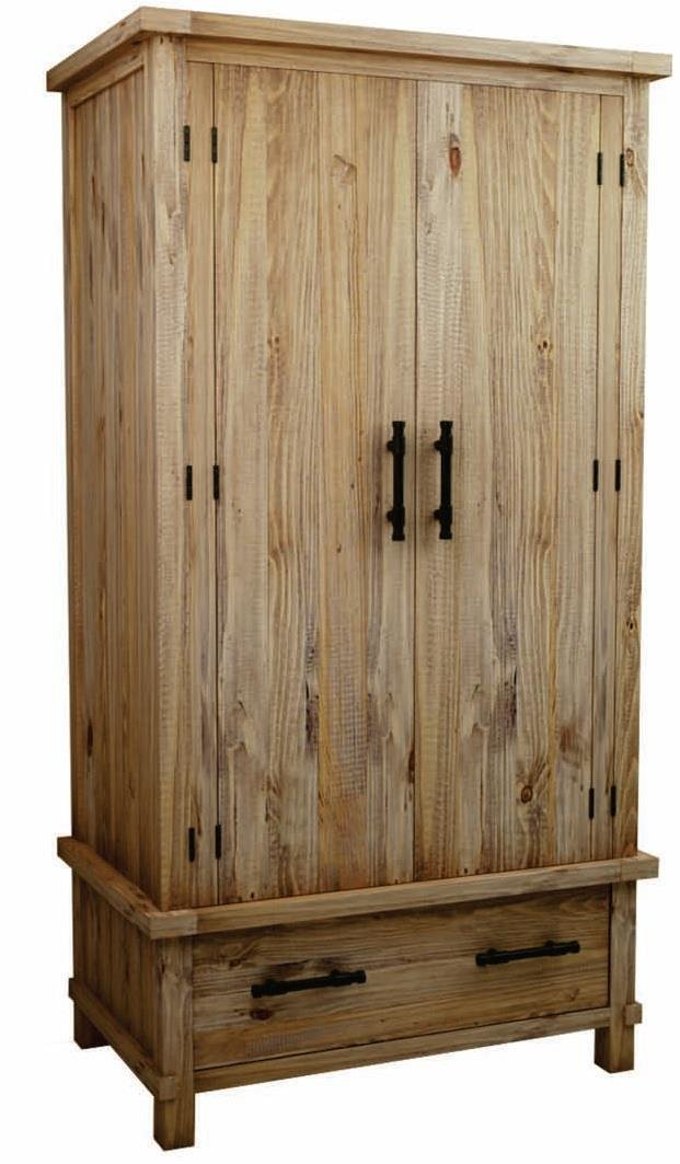 CDI FURNITURE AR1466WP Country Armoire Small Pine Wood, 42 x 25-Inch, Finish Weathered Pine