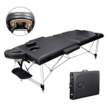 099a5b9d7245 Vesgantti Portable Massage Bed Table - 3-Section Aluminum Foldable Beauty  Couch for Reiki Therapy