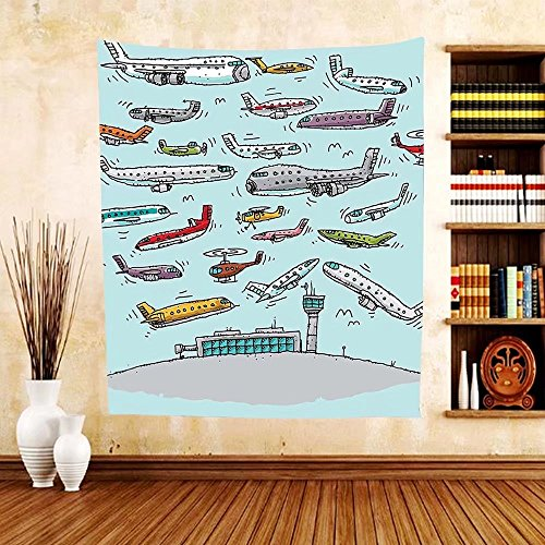 Gzhihine Custom tapestry Airplane Decor Tapestry Planes Fying in Air Aviation Love Airport Helicopters and Jets Cartoon for Bedroom Living Room Dorm 60 W X 40 L - Chicago Outlet Airport