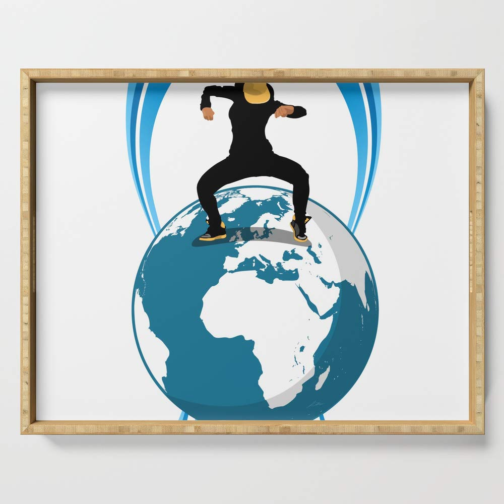 Society6 Serving Tray with handles, 18'' x 14'' x 1 3/4'', Dance on the Earth by giart