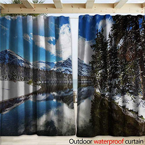 warmfamily Winter Outdoor Door Curtain Tranquil View of Glacier National Park in Montana Water Reflection Peaceful W108 x L96 Brown Blue White