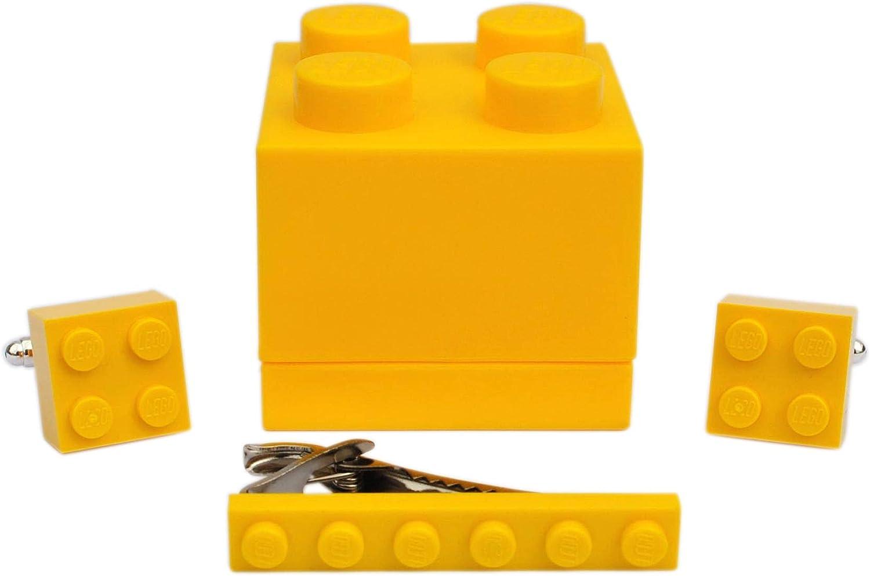 Gemelos y clip de corbata hechos a mano de Lego® Ladrillos (amarillo) Boda, novio, cumpleaños, para hombre, caja de regalo: Amazon.es: Joyería