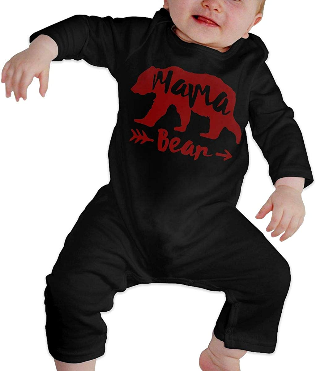 Mama Bear-2 Printed Newborn Infant Baby Boy Girl One-Piece Suit Long Sleeve Pajamas Black
