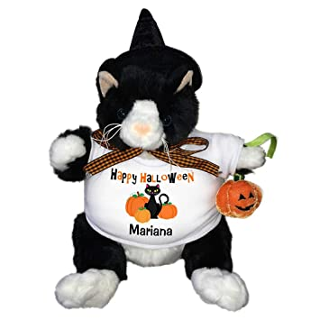 c8415291 Amazon.com: Personalized Halloween Plush Black Cat with Witch Hat: Toys &  Games