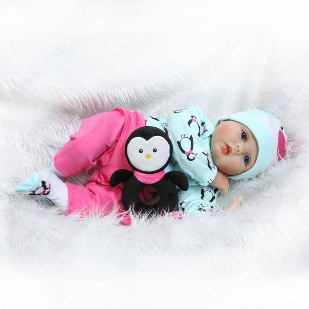 Yesteria Reborn Baby Dolls Girl Silicone Lifelike Toddler Light Green Rose Red Outfit with Toy Penguin 22 Inches