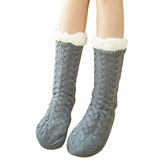 Zoylink Christmas Slippers Socks Thick Socks Anti Slip Winter Warm Socks for Women