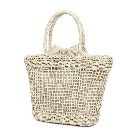 zarupeng✦‿✦ Bolso tejido de paja de moda para mujer Bolso de color sólido Bolso hueco ocasional salvaje cesta con asa: Amazon.es: Oficina y papelería