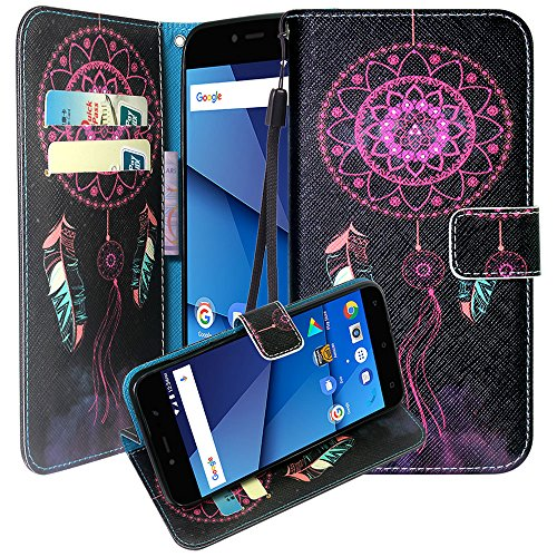 Blu VIVO 8L Case, Harryshell Kickstand Wrist Strap PU Leather Flip Wallet Case Protective Cover with Card Slot for Blu VIVO 8L 5.3 inch (A-2)