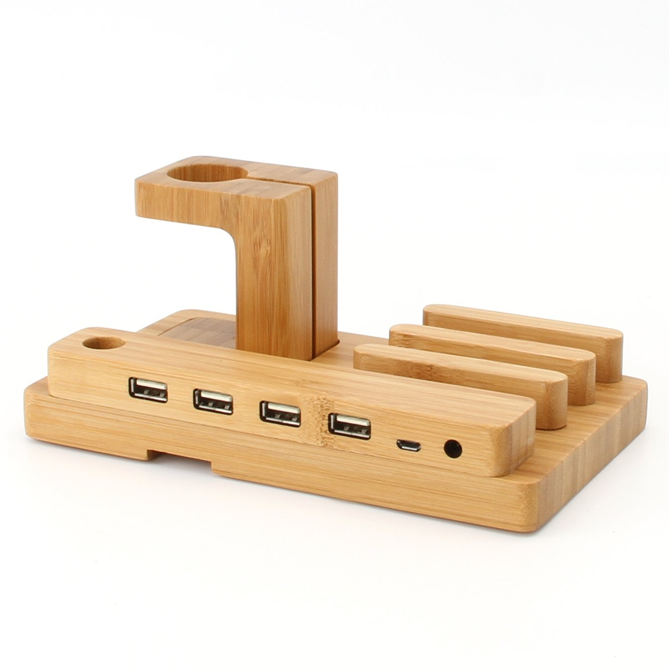 OJA 5-Port USB Desktop Bamboo Charging Station Universal Multi Device Dock Organizer Apple Watch Stand for iOS & Android Smartphones, Tablets & Apple Watch
