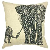 YOUR SMILE Elephant Cotton Linen Square Decorative Throw Pillow Case Cushion Cover 18x18 Inch(44CM44CM) (Color#16)