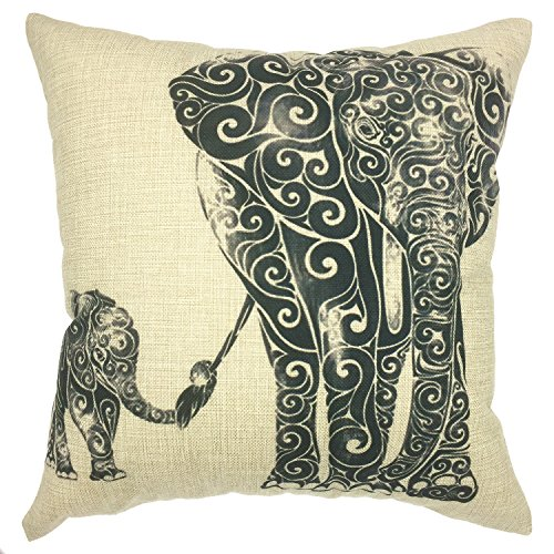 YOUR SMILE Elephant Cotton Linen Square Decorative Throw Pillow Case Cushion Cover 18x18 Inch(44CM44CM) (Color#16) (Elephant Decor Home)