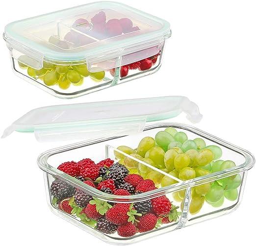 waremaid Vidrio Alimentos Contenedores 2 Compartimentos - Envases ...
