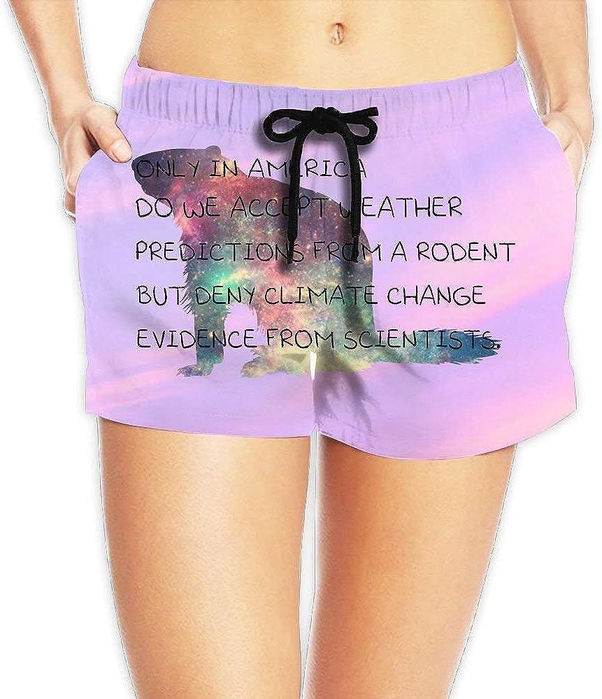 LarissaHi Shine Groundhog - Traje de baño para Mujer Pantalones Cortos de Playa - Traje de baño Ajustable