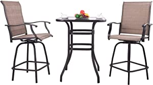 3 PCS Outdoor Swivel Bar Set,Patio Bistro Set, 2 Patio Bar Chairs and 1 Bar Table, Patio Furniture Sets