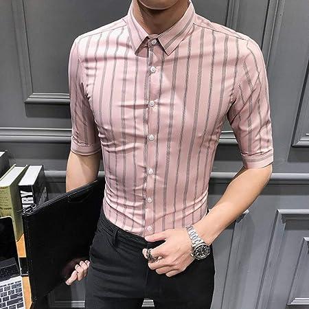 NSSY Camisa de Hombre Camisa de Hombre Camiseta de Manga Corta de Verano Streetwear Camisas a Rayas Vestido Ajustado de Negocios Ropa Formal Smoking, XXXL: Amazon.es: Hogar