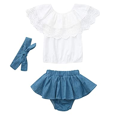 bc4539f87 Amazon.com: Womola 3PCS Toddler Kids Baby Girl Clothes Outfit Sleeveless  Lace Trim Ruffled Top Denim Shorts Skirt witn Headband Set: Clothing
