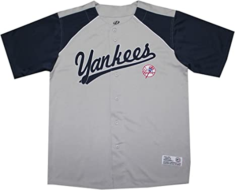 NY Yankees Mens atlético Dri Fit Button Down camiseta de béisbol, hombre, gris: Amazon.es: Deportes y aire libre