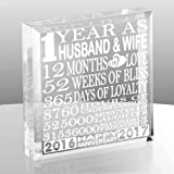 Kate Posh - 1 Year as Husband and Wife - Our First Anniversary Gift Paperweight and Keepsake - Includes 2016 (Marriage Year) and 2017 (1st Anniversary Year) - 1st Anniversary Gifts for Couples