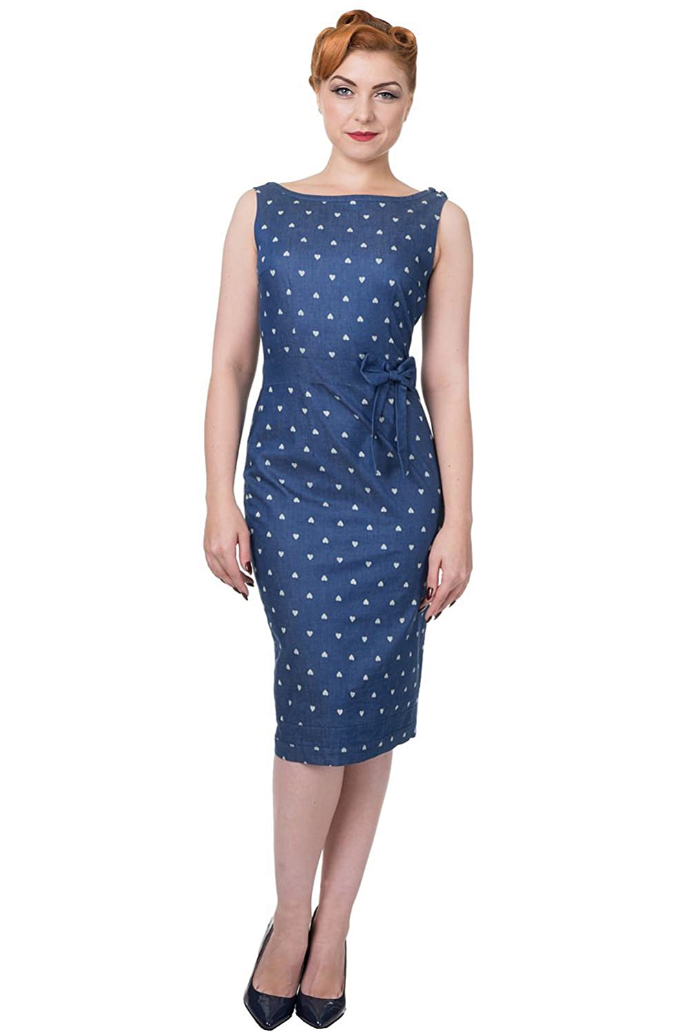 What Did Women Wear in the 1950s? Banned Apparel Sweet Treat Pencil Denim Dress $55.48 AT vintagedancer.com