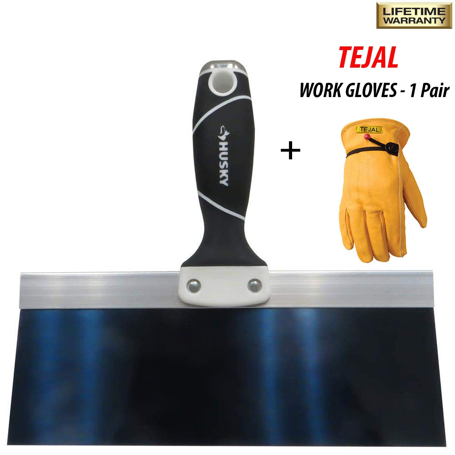 Husky Taping Knife - 10-inch, Stainless Steel, Soft Grip Handle, Hammer End with TEJAL Cowhide Leather Work Gloves 1 Pair (Large Size) - Model #BTK10HD