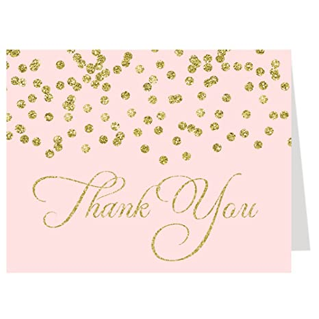Amazon Com Thank You Cards Confetti Quinceanera Blush Pink