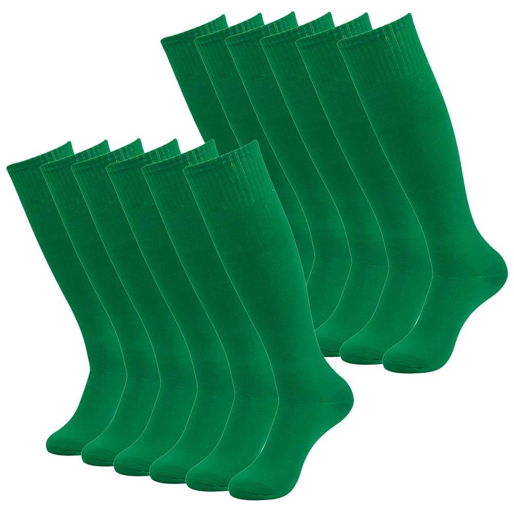 Getspor 12 Packs Green Knee High Socks, Women Mens Long Tube Sport Softball Rugby Soccer Socks for Training Party Costume