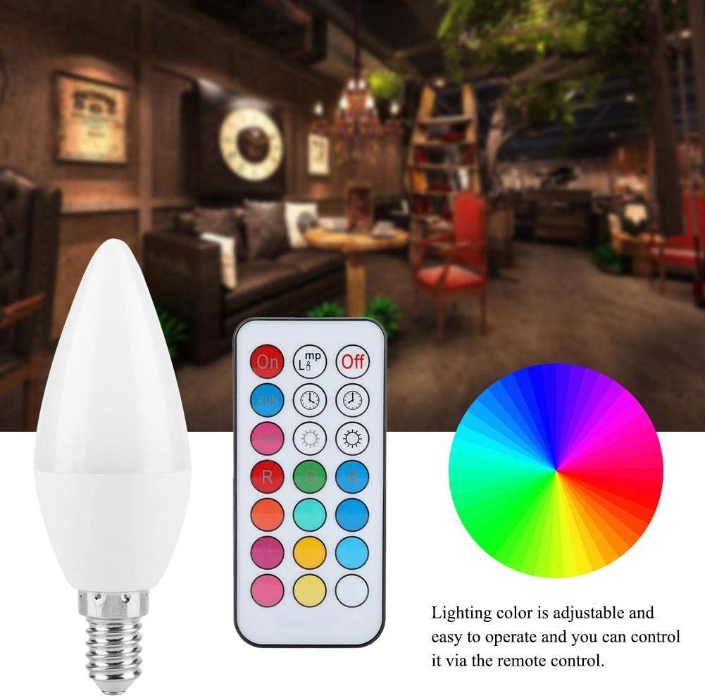2 Pcs RGB Candle Bulb,3W Smart E27 E14 E12 B22 Optional Candelabra Base LED Bulb Remote Control Color Changing LED Candle Light Bulb Lamp for Home Decoration E12RGB+Warm White