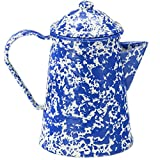 porcelain coated coffee pot - Enamelware Coffee Pot - Blue Marble with Grounds Basket/Percolator