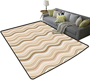 Tan Soft Rug Wavy Curvy Lines Flowing in Vertical Direction Swirl Energy Motion Inspired Decorative Floor Light Brown Tan White, 5'x 8'(150x240cm)