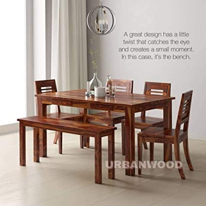 Pleasant Urbanwood Sheesham Wood Wooden Dining Set 6 Seater Dining Table With 4 Chairs 1 Bench 2 Drawer Storage Teak Brown Finish Interior Design Ideas Gentotryabchikinfo