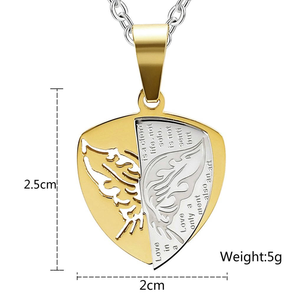 MoAndy Stainless Steel Men,Womens Butterfly Wings Move Words Pendant Necklaces