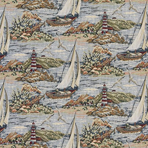 Nantucket Large Sail Boat Beach Lighthouse Ocean Theme Tapestry Upholstery Fabric by the ()