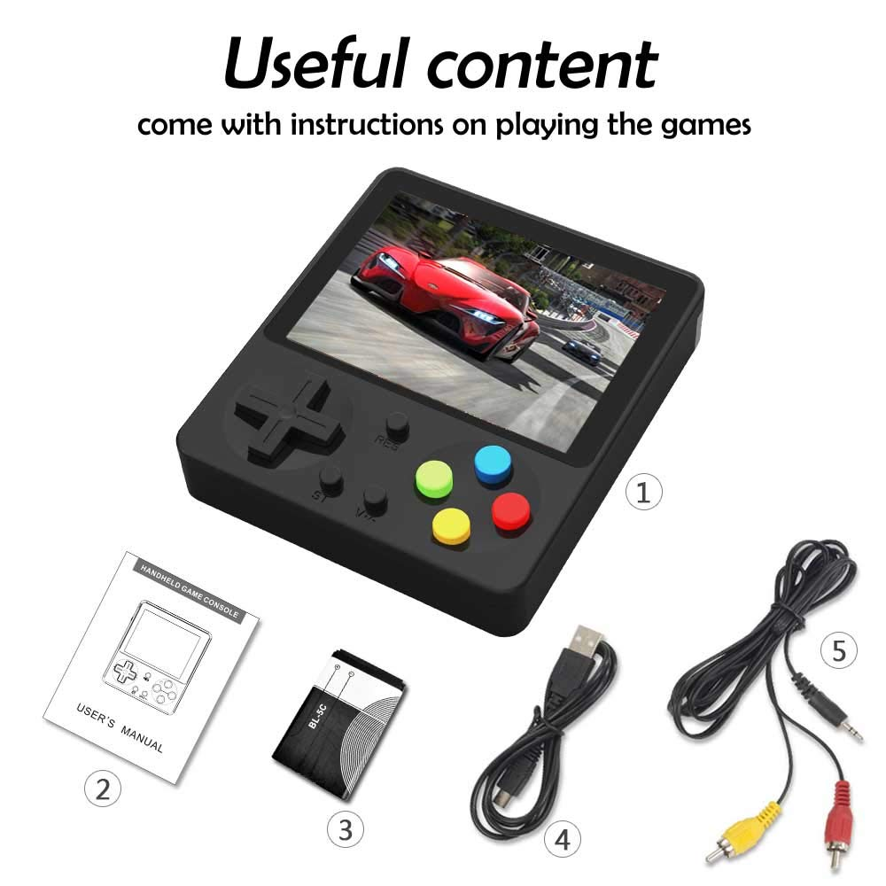 CHAONATECH Handheld Game Console, Portable Video Game 3 Inch HD Screen 333 Classic Games,Retro Game Console Can Play on TV, Good Gifts for Kids to Adult (Black) by CHAONATECH (Image #5)
