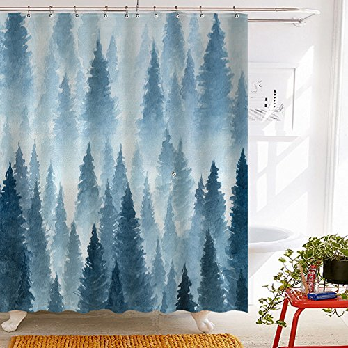(Tidy decor Nature Forest Landscape Decor, Watercolor Pine Trees Shower Curtains for Bathroom, Polyester Fabric Waterproof Bath Curtain, 69X70in, Shower Curtain Hooks Included, Blue)
