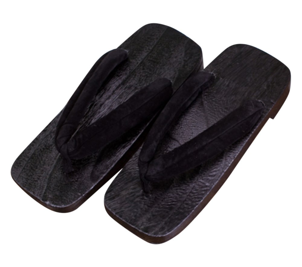 CRB Fashion Mens Womens Japanese Traditional Kimono Wooden Clogs Slippers Sandals (Size 45, Black Black)