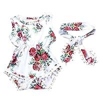 YanHoo Newborn Sunsuit Clothes Set, Infant Toddler Baby Girls Floral Romper Jumpsuit