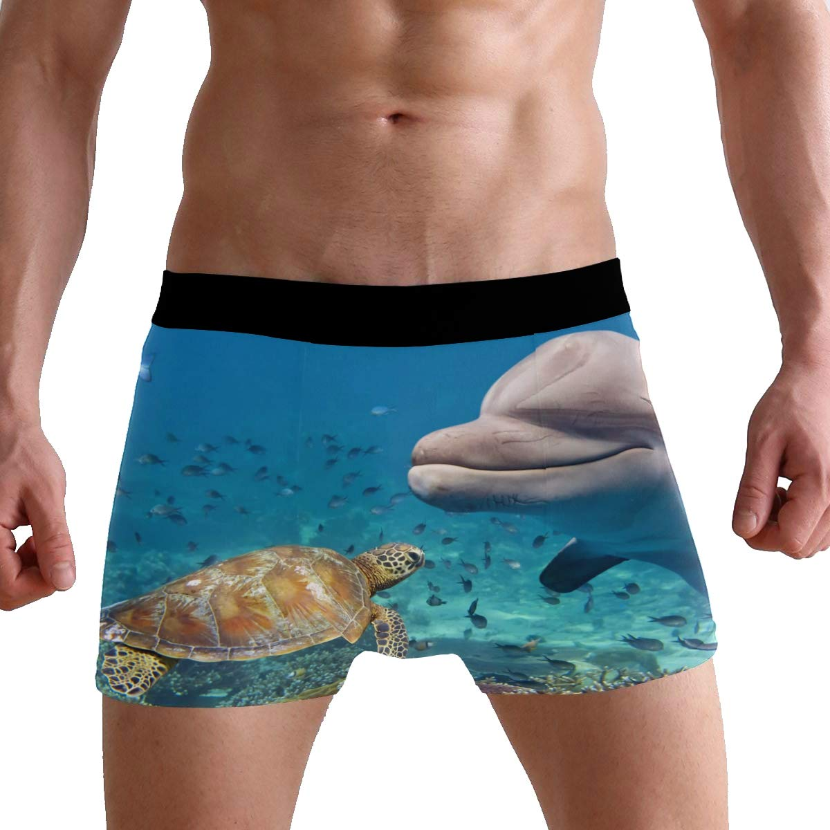 BETTKEN Mens Boxer Briefs Sea Animal Turtle Dolphin Short Underwear Soft Stretch Underpants for Men Boys S-XL