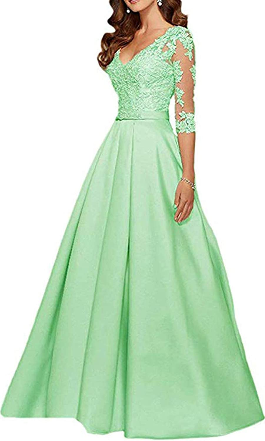 Sage Ri Yun Womens V Neck 3 4 Sleeves Prom Dresses Long 2019 Beaded Lace Mother of The Bride Dresses with Pockets