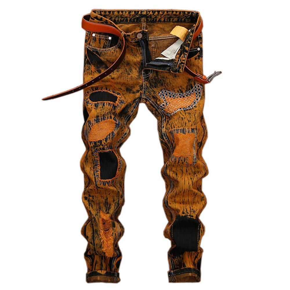Fashion Vintage Mens Ripped Jeans Hip Hop Pants Slim Destroyed Print Hole Casual Male Trousers