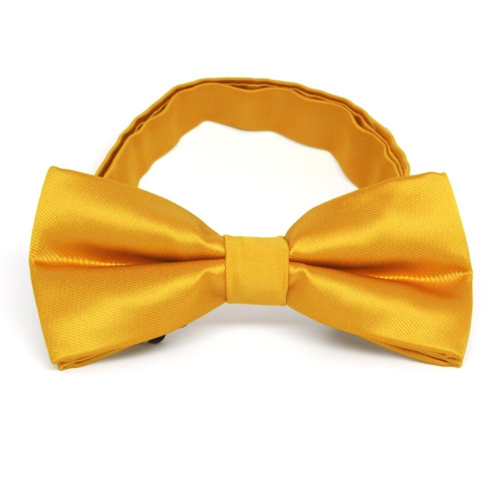TieMart Golden Yellow Band Collar Bow Tie