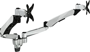 Mount-It! Dual Monitor Wall Mount with Articulating Gas-Spring Arms, VESA 75x75 mm and 100x100 mm, 19.8 lb Weight Capacity, Silver (MI-42114)