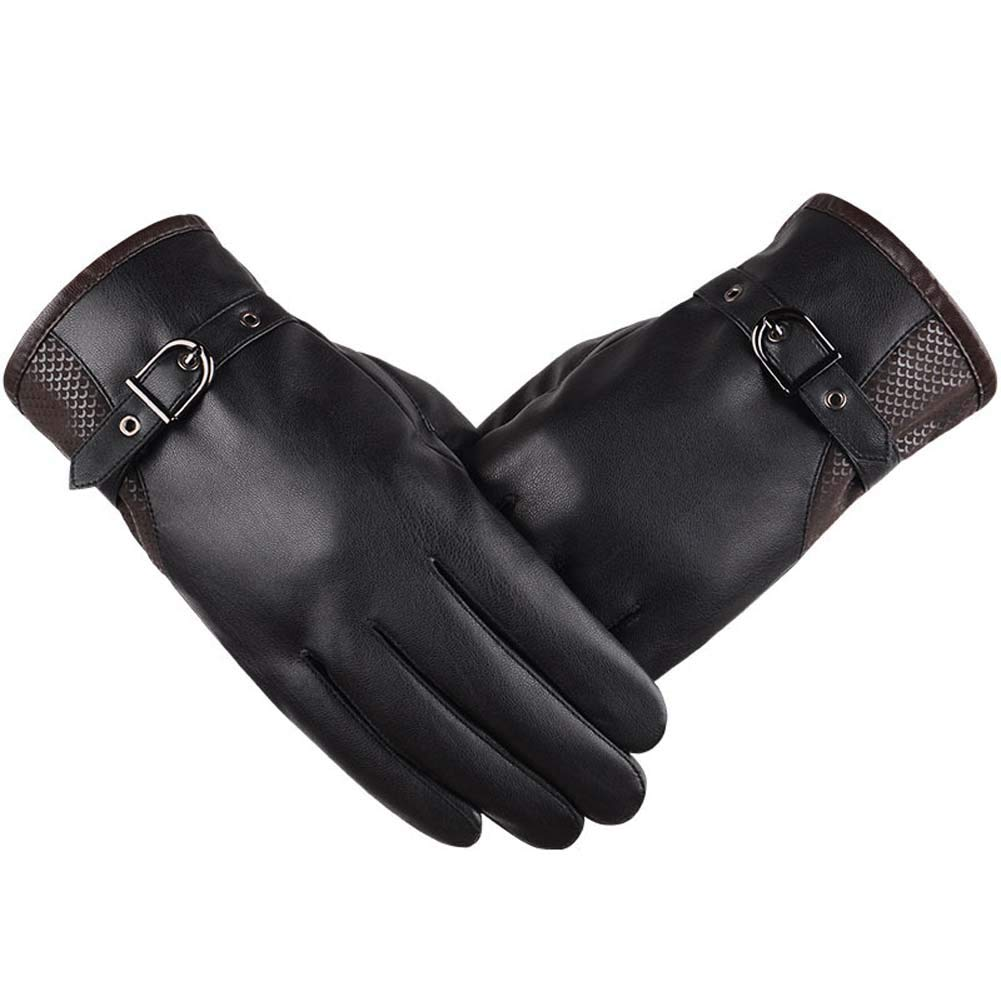 ANJUY Men's Touchscreen PU Leather Gloves Driving Winter Warm Mittens