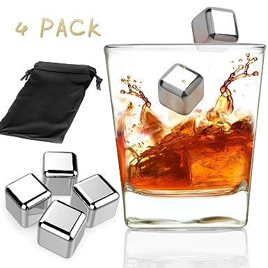 4 Unids Acero Inoxidable Whisky Piedras Reutilizables ...